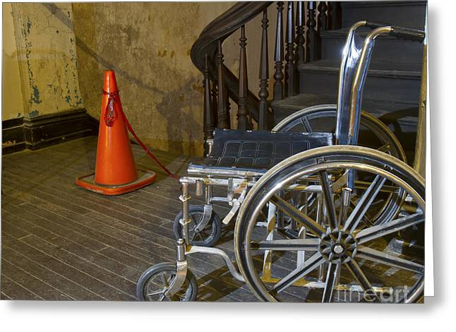 Wooden Stairs Greeting Cards - Wheelchair access Greeting Card by Karen Foley