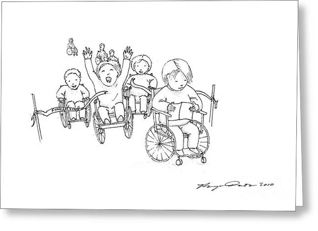 Disability Drawings Greeting Cards - Wheelchair Race Greeting Card by Benjamin Dunstan