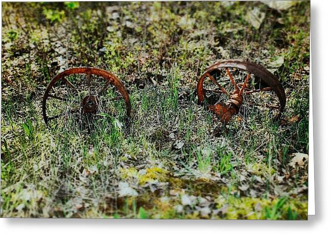 Old Street Greeting Cards - Wheels Greeting Card by Creatively Insane