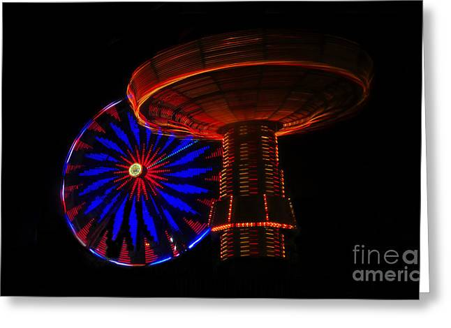 Ferris Wheel Night Photography Greeting Cards - Wheels of Light Greeting Card by David Lee Thompson