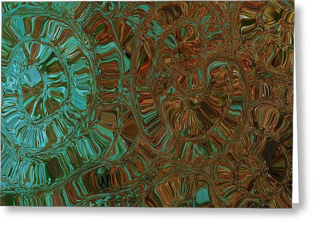 Abstract Digital Mixed Media Greeting Cards - Wheels of Time Greeting Card by Bonnie Bruno