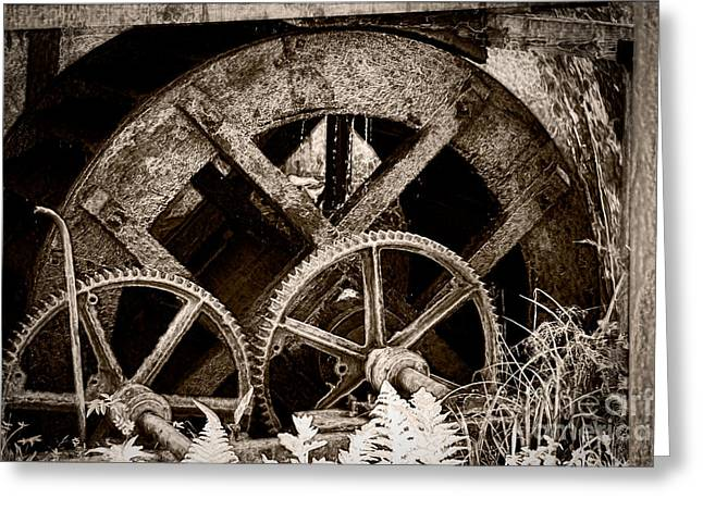 Mechanism Photographs Greeting Cards - Wheels of time Greeting Card by Gabriela Insuratelu
