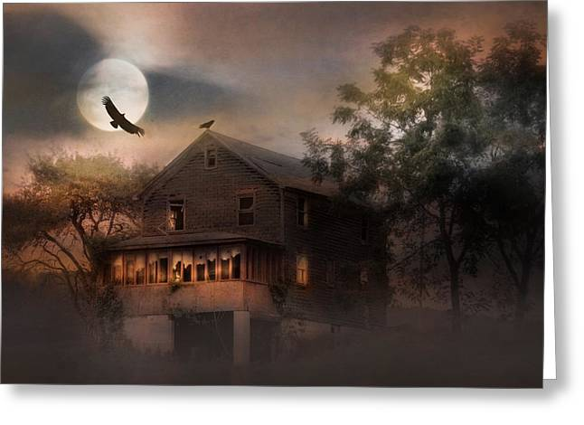 Haunted House Mixed Media Greeting Cards - When Dead Leaves Fly Greeting Card by Lori Deiter