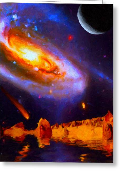 Merging Greeting Cards - Merging Galaxies Greeting Card by Chuck Mountain