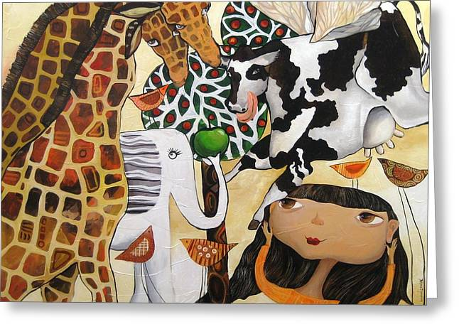 When Giraffes Were Big Greeting Card by Yelena Revis
