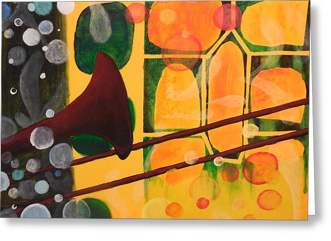 Fizz Paintings Greeting Cards - When I Hear J.J. Greeting Card by Nevi Zerkle