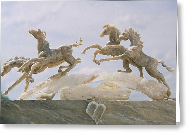 Animals Sculptures Greeting Cards - When I Look Up 1 Greeting Card by Caroline Czelatko