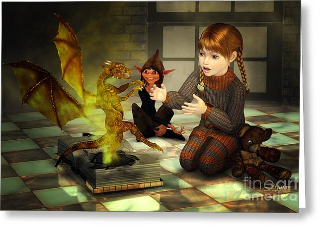 Children Story Book Digital Greeting Cards - When Imagination Comes True Greeting Card by Jutta Maria Pusl