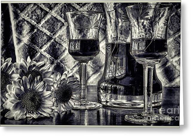 Glass Table Reflection Greeting Cards - When its Time for Wine Greeting Card by Pamela Blizzard