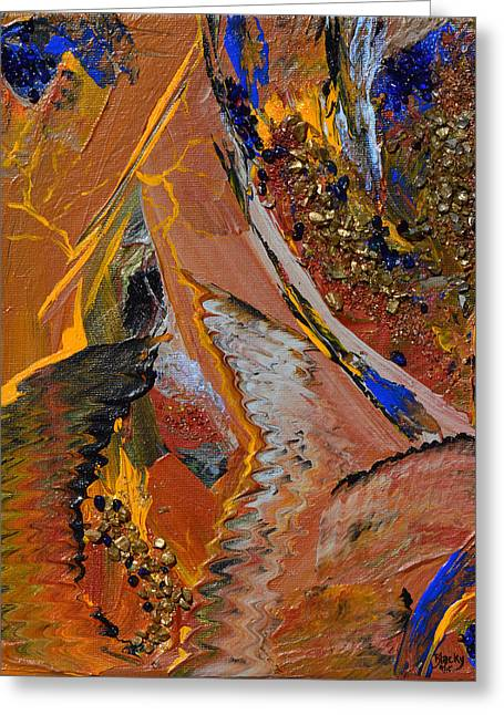 Art In Acrylic Greeting Cards - When Lightning Strikes Greeting Card by Donna Blackhall