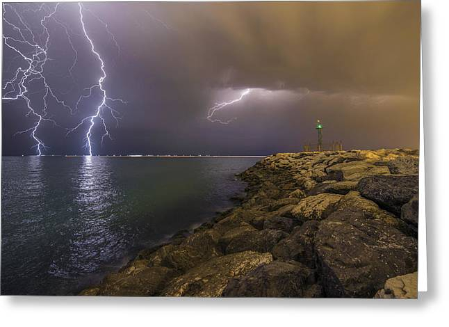 When Lightning Strikes Greeting Card by Mehdi Momenzadeh