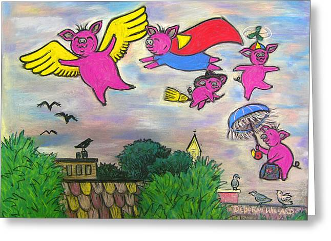 Pigs Pastels Greeting Cards - When Pigs Fly Greeting Card by Deborah Willard