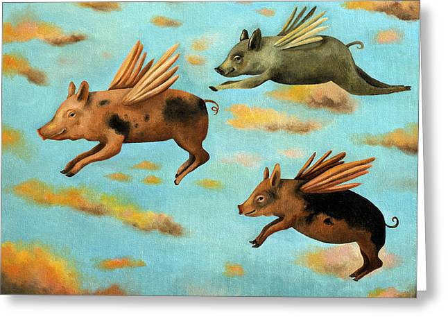 Pig Greeting Cards - When Pigs Fly Greeting Card by Leah Saulnier The Painting Maniac