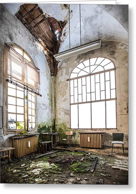 Despair Greeting Cards - When the ceiling comes down - abandoned building Greeting Card by Dirk Ercken