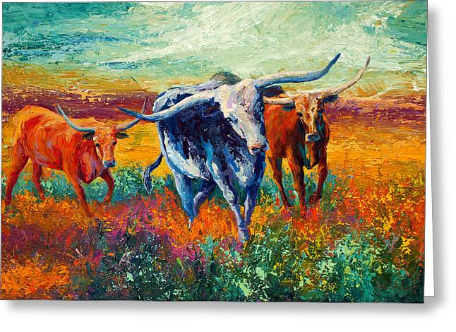 Steer Greeting Cards - When The Cows Come Home Greeting Card by Marion Rose