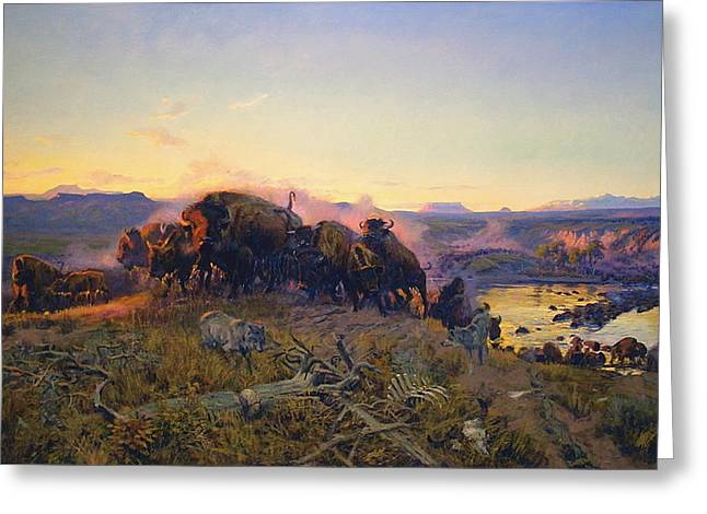 When The Land Belonged To God Greeting Card by Charles Russell