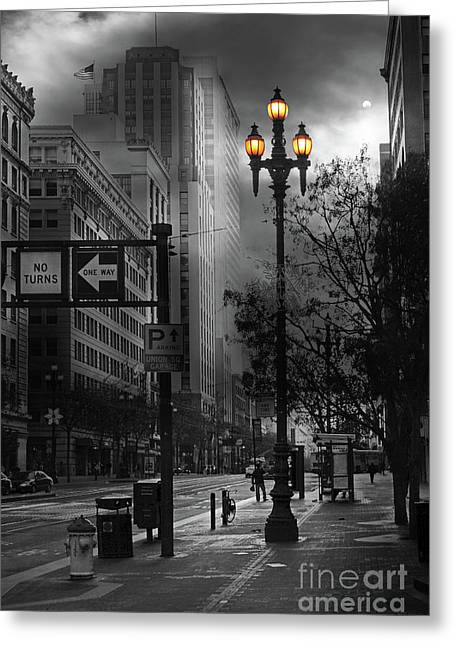 When The Lights Go Down In San Francisco 5d20609 Bw Greeting Card by Wingsdomain Art and Photography