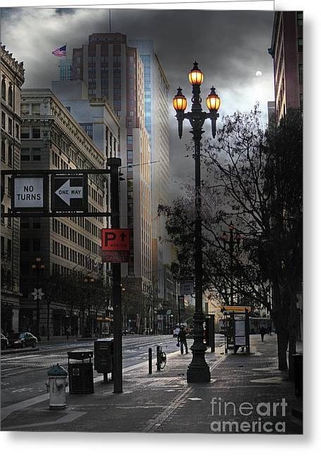 When The Lights Go Down In San Francisco 5d20609 Greeting Card by Wingsdomain Art and Photography