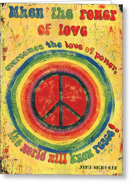 Retro Typography Greeting Cards - When the Power of Love Greeting Card by Debbie DeWitt