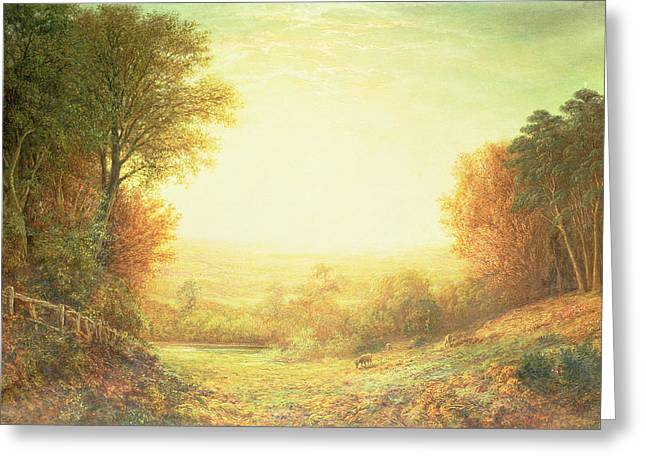 Meadow Scene Greeting Cards - When the Sun in Splendor Fades Greeting Card by John MacWhirter