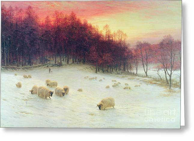 Meadow Scene Greeting Cards - When the West with Evening Glows Greeting Card by Joseph Farquharson
