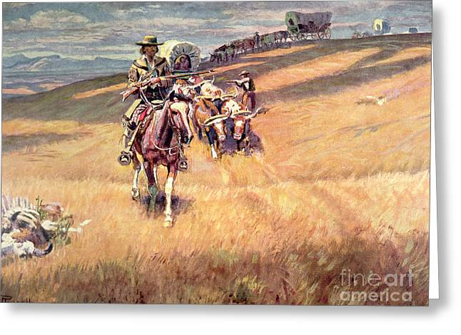 When Wagon Trails Were Dim Greeting Card by Charles Marion Russell