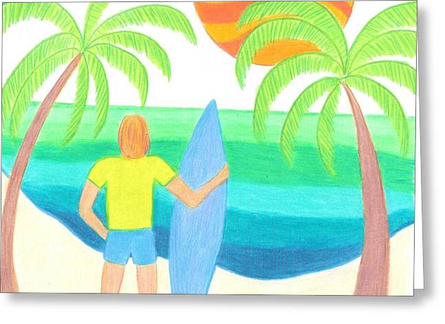 Sun Greeting Cards - Where Are the Waves Greeting Card by Geree McDermott