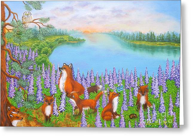 Fox Kit Paintings Greeting Cards - Where Bloom Lupines Greeting Card by Loreta Mickiene