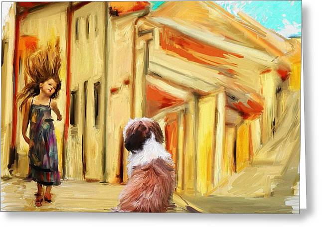 Dog Walking Greeting Cards - Where Do Thoughts Come From Greeting Card by Richard Okun