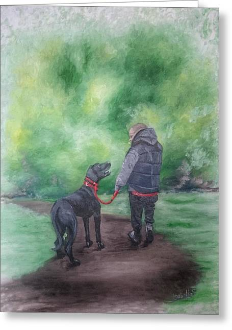 Dog Walking Greeting Cards - Where Do You Want a To Go Now Greeting Card by I F Abbie Shores 1stAngel Arts