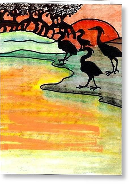 Mango Greeting Cards - Where heron feed Greeting Card by Carol Allen Anfinsen