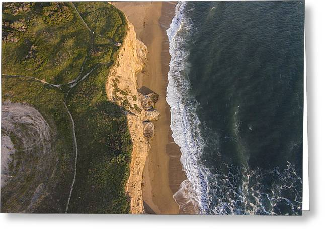 Santa Cruz Surfing Greeting Cards - Where Land Meets The Sea Greeting Card by David Levy