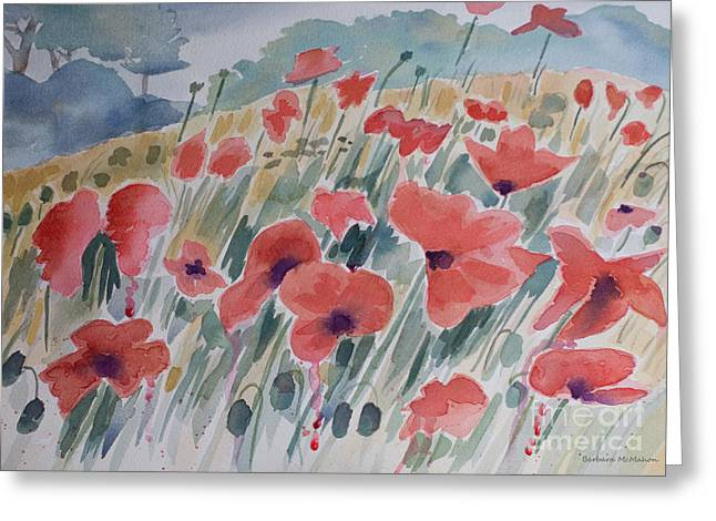Iraq Paintings Greeting Cards - Where Poppies Grow Greeting Card by Barbara McMahon