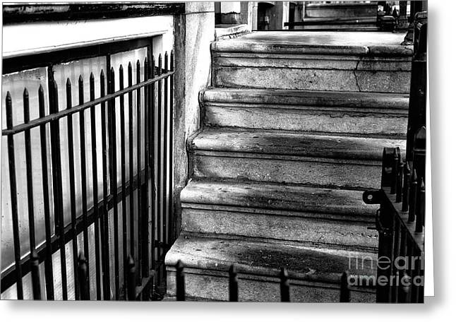 Where The Stairs Lead In Amsterdam Mono Greeting Card by John Rizzuto