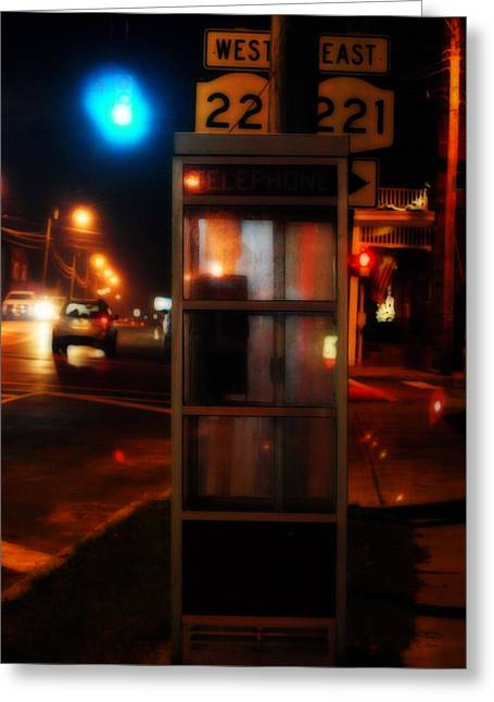Telephone Booth Greeting Cards - Where West Meets East  Greeting Card by Steven  Digman