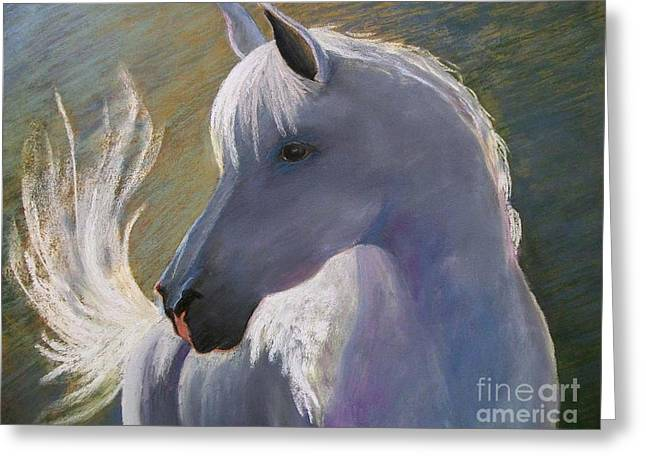 White Horse Pastels Greeting Cards - Wheres My Cowgirl Greeting Card by Susan M Fleischer