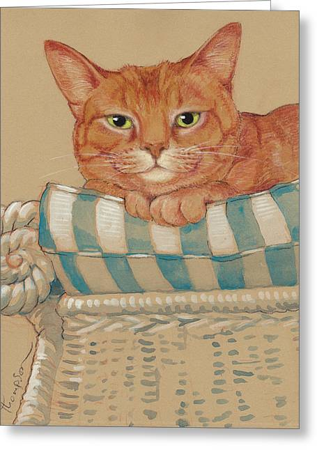 Cushion Paintings Greeting Cards - Wheres My Daiquiri? Greeting Card by Tracie Thompson