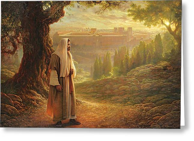 Walking Greeting Cards - Wherever He Leads Me Greeting Card by Greg Olsen