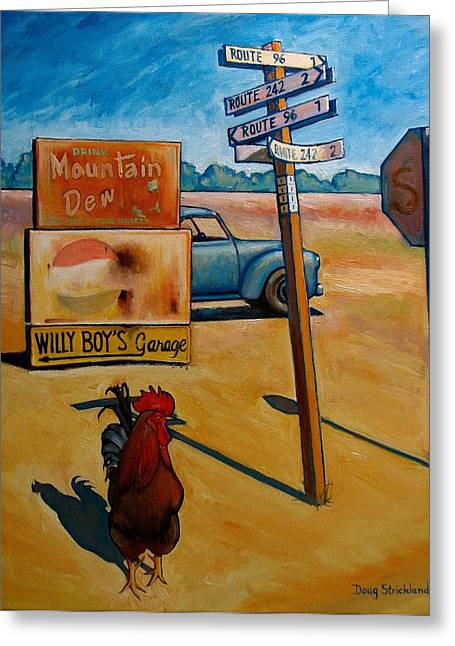 Old Country Roads Paintings Greeting Cards - Whether to Cross Greeting Card by Doug Strickland