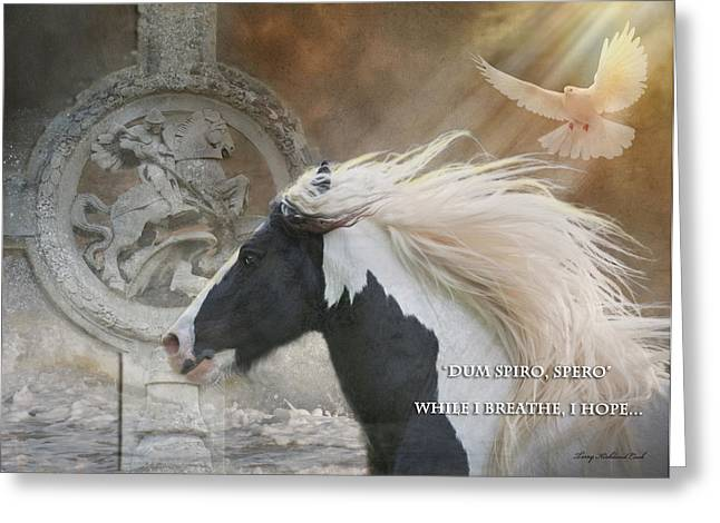 Scripture Digital Art Greeting Cards - While I Breathe I Hope Greeting Card by Terry Kirkland Cook