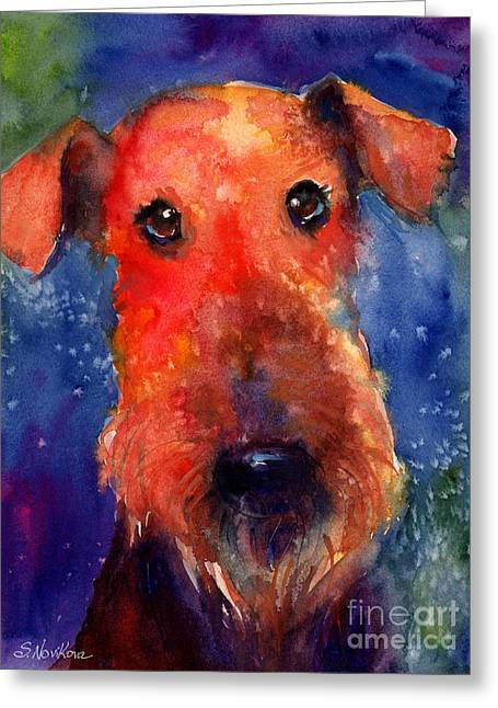 Dog Portraits Greeting Cards - Whimsical Airedale Dog painting Greeting Card by Svetlana Novikova