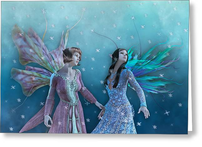 Moon Fairies Blue Snow Woman Greeting Cards - Whimsical Christmas Night  Greeting Card by Betsy C  Knapp