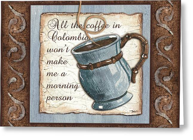 Beverage Greeting Cards - Whimsical Coffee 1 Greeting Card by Debbie DeWitt
