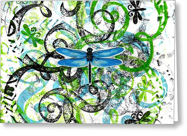 Whimsical Dragonflies Greeting Card by Genevieve Esson