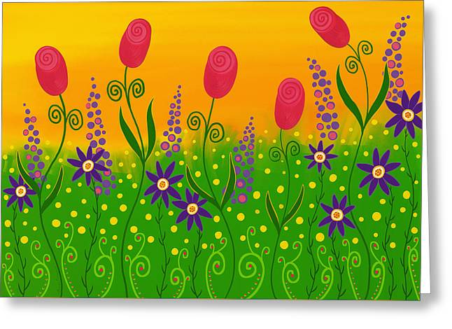 Toss Greeting Cards - Whimsical Flower Garden Greeting Card by Sharon Norman