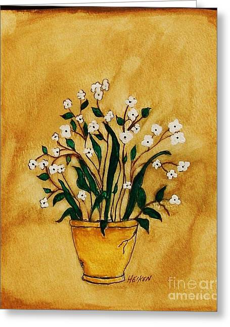 Tiny Whites Greeting Cards - Whimsical Flowers Greeting Card by Marsha Heiken