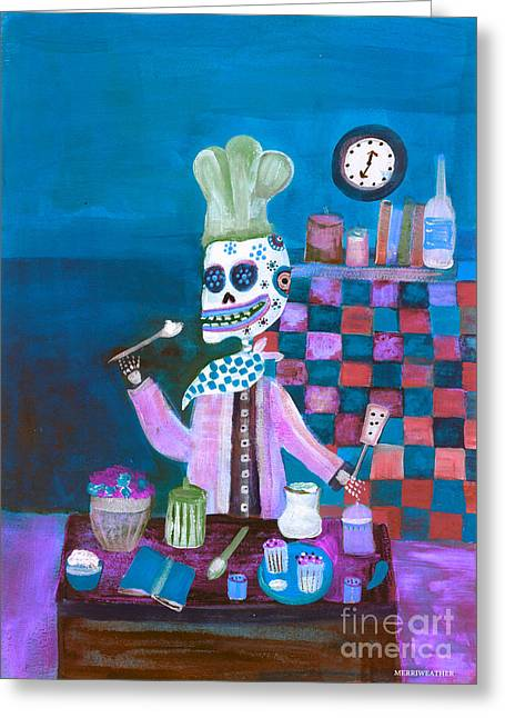 Painted Recipes Greeting Cards - Whimsical Folk Art Chef  Greeting Card by Wild Colors