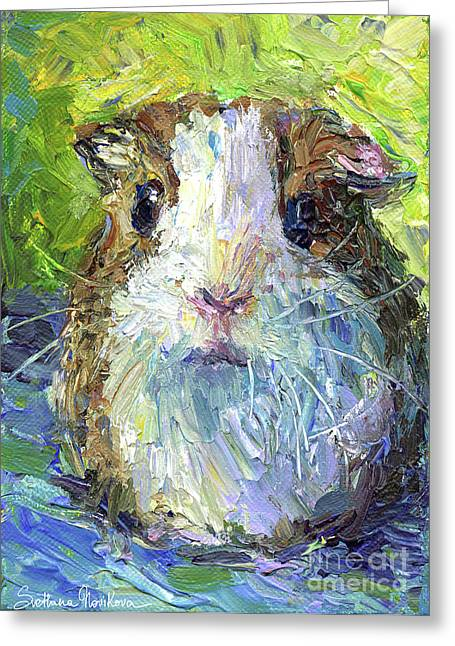 Whimsical Guinea Pig Painting Print Greeting Card by Svetlana Novikova