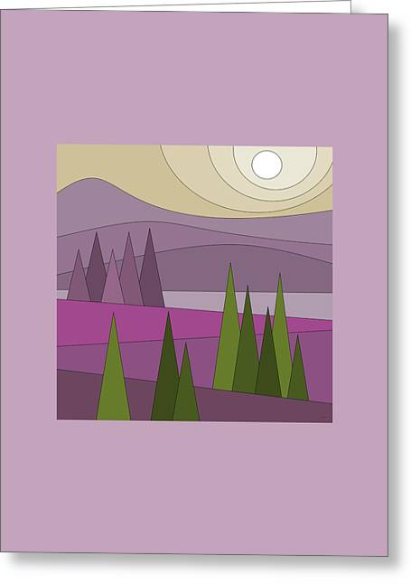 Whimsical Landscape Greeting Card by Val Arie