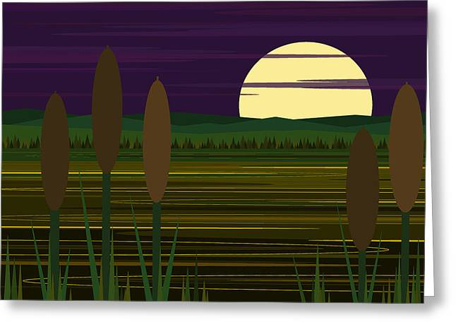 Moonrise Greeting Cards - Whimsical Moonrise - Cattails Greeting Card by Val Arie